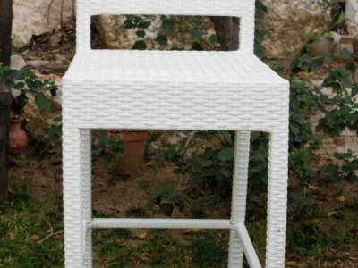 כסא בר מראטן לבן