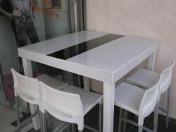 שולחן מעוצב עם פס שחור 1.20 - 1.20